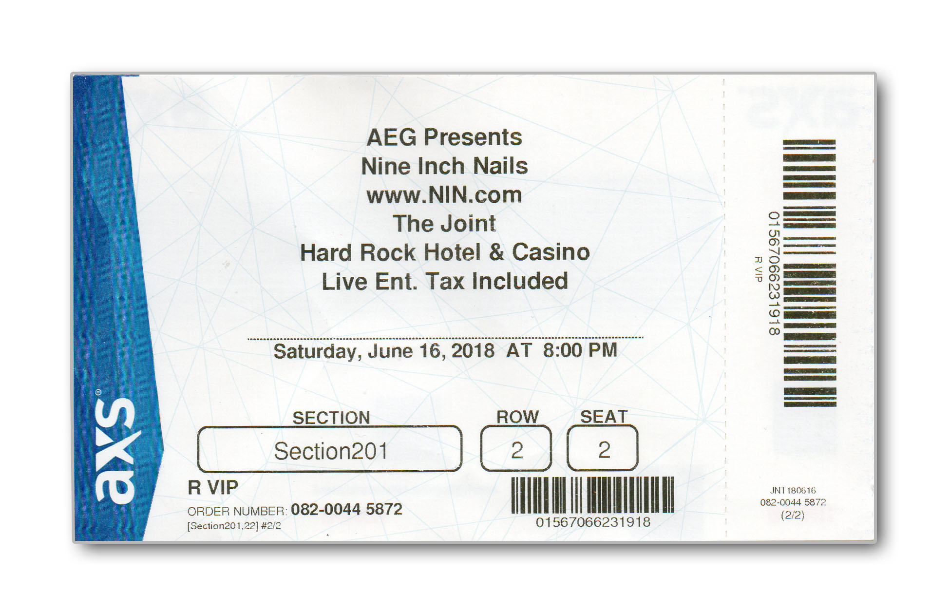 Vegas 3 06/16/2018 Ticket